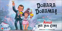 Fantastic latest advert from the Amul Girl, the iconic Indian food brand, now celebrating Obama's win.