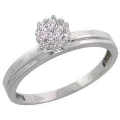 14k White Gold Diamond Engagement Ring, w/ 0.05 Carat Brilliant Cut Diamonds, 1/8 in. (3mm) wide, Size 7