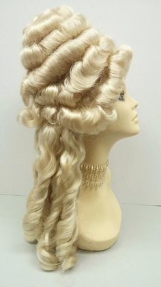 Need to look your best? Definitely go for this wig to complete your look or costume! Color: Blonde Style: Curly Circumference: Adjustable ***All sales are final. Please read all store policies before purchasing. African Hairstyles, Wig Hairstyles, Wedding Hairstyles, Hairdos, Updos, Blond, Marie Antoinette Costume, Drag Wigs, Yarn Wig