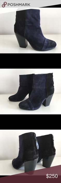 """TORY BURCH NEWBURY NAVY BLUE & BLACK SUEDE BOOTS TORY BURCH NEWBURY NAVY BLUE & BLACK SUEDE LEATHER ANKLE BOOTS, WITH ZIP CLOSURE AT BACK HEEL, SIZE 6.5, STACKED HEEL 3.5"""", SHAFT 4"""", LEATHER UPPER LINING AND SOLE, BRAND NEW WITH BOX AND DUST BAG rag & bone Shoes Ankle Boots & Booties"""