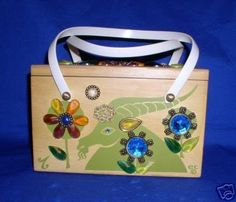 0f9d03132a44 Enid Collins zodiac Capricorn wood box bag purse in green print and multi  color gems.