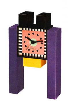 George Sowden and Nathalie du Pasquier, Table Clock, 1987 Art Furniture, Memphis Furniture, Funky Furniture, Traditional Clocks, Nathalie Du Pasquier, Memphis Milano, 1980s Design, Memphis Design, Design Movements