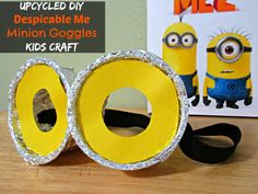 DIY Despicable Me Minion Goggles Kids Craft made out of Stonyfield Containers.