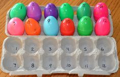 Don't put away your plastic eggs yet! Here's a super easy, fun, counting/number recognition game. Numbers Preschool, Learning Numbers, Easter Activities, Preschool Crafts, Toddler Activities, Learning Activities, Preschool Activities, Writing Numbers, Thanksgiving Activities