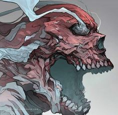 Skull of the day Arte Horror, Horror Art, Art Sketches, Art Drawings, Wallpaper Animes, Samurai Art, Creepy Art, Monster Art, Dope Art