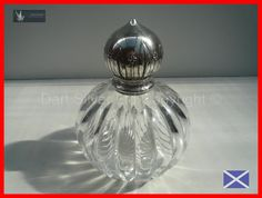 Victorian Cut Glass  Sterling Silver Large Perfume Bottle HM 1887