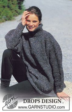DROPS jumper with textured pattern in Alaska-Tweed. Free pattern by DROPS Design. Sweater Knitting Patterns, Easy Knitting, Knit Patterns, Tweed, Drops Design, Magazine Drops, Big Knits, Free Pattern, Knit Crochet