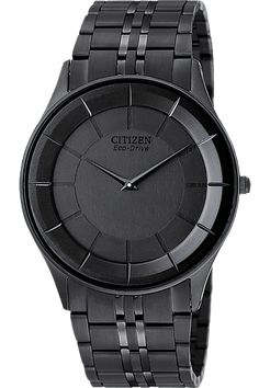 Citizen Men's Stiletto - The Citizen Eco Drive is unstoppable, just like the people who wear it. Fueled by light, its energy cell stores enough power to run for six months, even in the dark. The Stiletto sports a sleek black ion-plated stainless steel case and black ion-plated crown. #WatchesIlike
