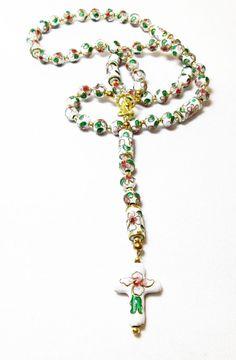 White Cloissone' Rosary by kiddercreations on Etsy, $35.00