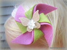 Felt Flower Headband  Pinwheel with Vintage by Sweetlittleblossoms