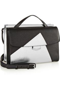 Fendi|Demi-Jour color-block textured-leather shoulder bag|NET-A-PORTER.COM