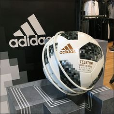 This Adidas Soccer Ball Endcap and Inline Display starts with a very artistic Endcap structure, and ends with an inline gondola full of backstock to carry through on its promise Soccer Store, Store Fixtures, Nike Football, Adidas, Inline, Soccer Ball, Train, Display, Balls