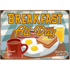 Breakfast All Day Large Distressed Metal Sign