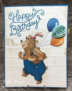 Fussy cut bear added to card front of distressed brick, along with balloons and one honeycomb embellishment (144124) ()