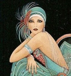This example of a 1920's flapper girl fashion illustration is very typical of the era. Illustrations generally included immense attention to detail and many pastel type tones were used to great effect.