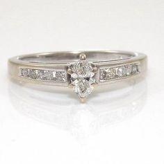 #jewelry 14K White Gold 0.40ctw Natural Diamond Wedding Engagement Ring Size 7 QR please retweet