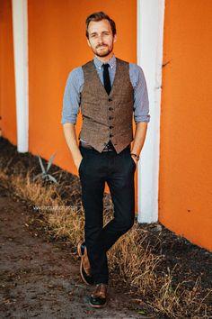 So simple, yet so effective: Vest: Ludlow- J. Crew - $73.50 Shirt: J. Crew Factory - $29 Pants: AllSaints Outlet - $85 Shoes: Corsico - Bed|Stu Tie: WD.NY (JackThreads) - $12 Belt: Land's End Canvas - $12 (similar) Watch: Timex - Amazon - $31