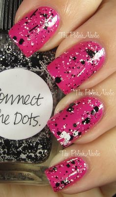 Connect The Dots is a mixture of black and white glitter of all sizes and shapes in a clear base with a very subtle shimmer