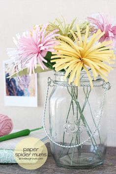 Colorful DIY Paper Spider Mums  with livelaughrowe.com #crafts #DIY #Easter