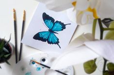 Akwarelowy motyl – Papilio ulysses watercolor butterfly akwarele Paper Quilling Cards, Butterfly Watercolor, Bows, Tableware, Handmade, Instagram, Painting, Decor, Poster