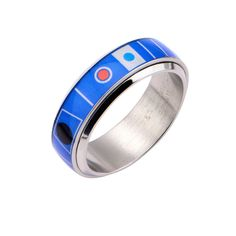 PRODUCT DESCRIPTION: Search the galaxy with R2D2 Spinner Ring on your finger. Made of 316 Stainless Steel, this blue and silver ring is a great astromech accessory to include in any quirky outfit. All