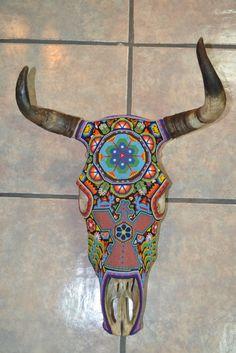 Hand Beaded Huichol Indian Mexican Folk Art Authentic Bull Skull Bull Skulls, Deer Skulls, Painted Animal Skulls, Cow Skull Art, Mosaic Animals, Skull Painting, Animal Bones, Beaded Skull, Mexican Folk Art