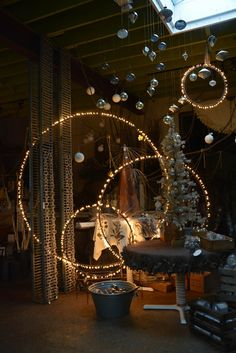 These unique steel light rings were designed by Detroit Garden Works and are locally fabricated. An uncomplicated but beautiful way to add light to an outdoor display or indoor decor. Christmas Crafts, Christmas Decorations, Christmas Tree, Holiday Decorating, Xmas, Christmas Lights Outside, Magical Christmas, Christmas Ideas, Christmas Wreaths
