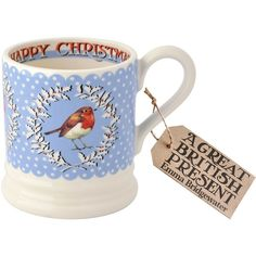 Emma Bridgewater Christmas Wreath Robin 1/2 Pint Mug (255 MXN) ❤ liked on Polyvore featuring home, kitchen & dining, drinkware, clearance, emma bridgewater mugs and emma bridgewater