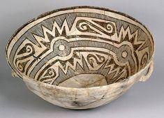Tazón de cerámica decorado, siglo XI-siglo XIII, Cañón del Chaco.