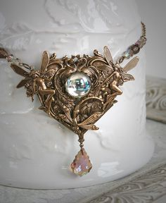 TRUE LOVE romantic vintage Victorian fantasy fairy, bird and dragonfly necklace, free gift boxing. $64.00, via Etsy.