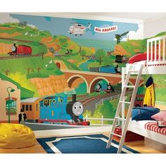 @Overstock.com - All Aboard with this gigantic Thomas the Tank Engine and his friends XL wall mural. This fun wall mural is perfect for nurseries and bedrooms, and parents will love how easy it is to apply and remove.http://www.overstock.com/Baby/Thomas-the-Train-Chair-Rail-Prepasted-Wall-Art-Mural-6-x-10.5/7653712/product.html?CID=214117 $154.00