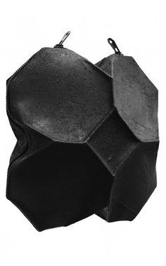 Kagari Yusuke - Black Leather & Putty Geometric Bag | unconventional