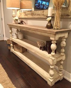 Extra Long Three Shelf French Country Console/Buffet This beautiful console table shown measures fro Diy Furniture Projects, Repurposed Furniture, Furniture Makeover, Furniture Movers, Furniture Stores, Garden Furniture, Bedroom Furniture, Bedroom Decor, Country Farmhouse Decor