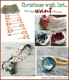 4 Gifts, Christmas Wish List: Want. Stamp, scarf, camera strap cover, ring.  #4Gifts #christmas #gifts