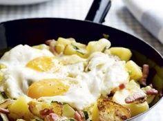 Winterse kost met aardappelen en spek