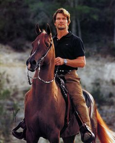 Patrick Swayze and his Arbian stallion Tammen on the cover of the May 1996 issue of Arabian Horse World. Photo by Javan Schaller William Shatner, Dirty Dancing, Beautiful Horses, Animals Beautiful, Stars D'hollywood, Arabian Stallions, Arabian Horses, Andalusian Horse, Friesian Horse