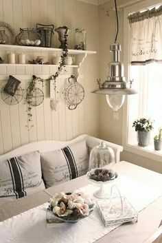 Shabby Chic sunny dining spot - love the bench. Would give me an excuse to buy more pillows (as if I Shabby Chic Homes, Shabby Chic Decor, Shabby Vintage, Vintage Decor, Country Decor, Farmhouse Decor, Farmhouse Lighting, Home And Deco, Country Kitchen