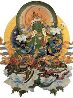 "Green Tara, Teaching on Dudjom Lingpa's ""Prayer that Confers Protection from all Fear"" DVD Buddhist Symbols, Thangka Painting, Green Tara, Tibetan Art, Buddha Art, Sacred Feminine, Beautiful Goddess, Deities, Himalayan"