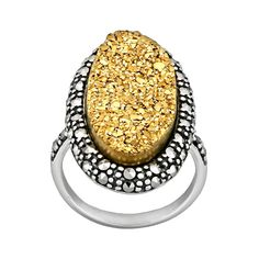 Sterling Silver Golden Drusy and Marcasite Ring, Women's, Size: 6, multicolor