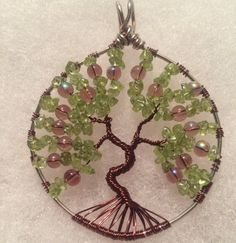 Peridot Tree Of Life necklace wire tree of life by SugarHillGems