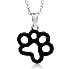 ASPCA®+Tender+Voices™+1/5+CT.+T.W.+Enhanced+Black+Diamond+Paw+Pendant+in+Sterling+Silver