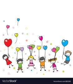 children playing with balloons. Blank space for text. Art Drawings For Kids, Drawing For Kids, Easy Drawings, Art For Kids, Drawing Art, Stick Figure Drawing, Graduation Diy, Stick Figures, Rock Crafts