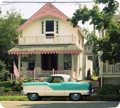 Cute cottage and vintage car.summertime on the Jersey Shore (Ocean Grove) Cozy Cottage, Cottage Style, Style At Home, Cute House, Awesome House, Pink Houses, Dream Houses, Farm Houses, Beach Cottages