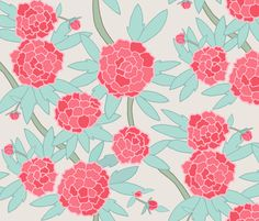 Paeonia in Mint and Coral Pink fabric by sparrowsong on Spoonflower - custom fabric and wallpaper