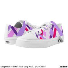 Gingham Geometric Plaid Girly Pink Purple White Printed Shoes