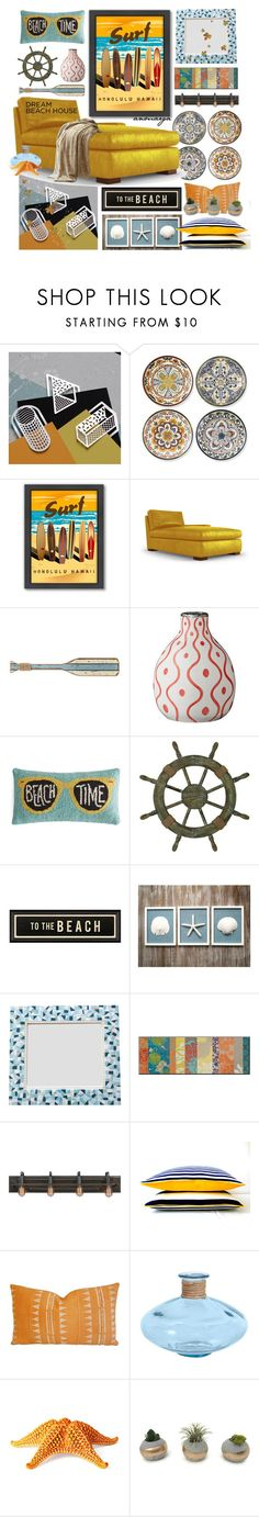 """""""Vacation Vibes: Dream Beach House"""" by anmarga ❤ liked on Polyvore featuring interior, interiors, interior design, home, home decor, interior decorating, Dowse, Williams-Sonoma, Americanflat and Joybird"""