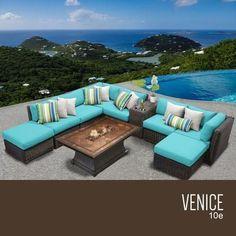 VENICE-10e-ARUBA Venice 10 Piece Outdoor Wicker Patio Furniture Set 10e with 2 Covers: Wheat and Aruba