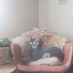 READY TO SHIP - the Cat - #handcrafted wool cat pillow by @ThreeBadSeeds on #etsy