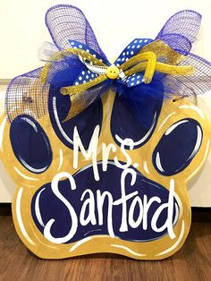 Paw Print Door Hanger by OurHouseofHudson on Etsy