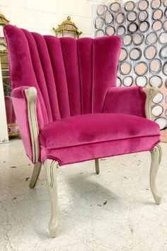 gorgeous pink channel back chair...so glamorous! I just got one at an estate sale that is a high back and I want to do in a hot pink velvet just like this!!